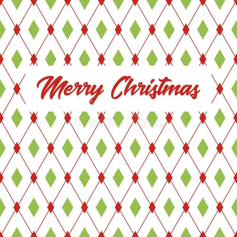 Carte de voeux de Joyeux Noël avec le modèle de losange illustration libre de droits