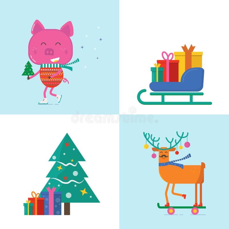 Carte de voeux de Joyeux Noël avec les animaux mignons : porc, cerfs communs et t illustration stock