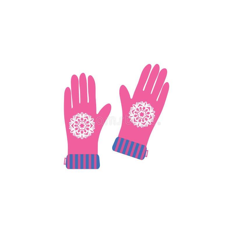 Carte de voeux de Joyeux Noël avec les gants et le flocon de neige illustration libre de droits