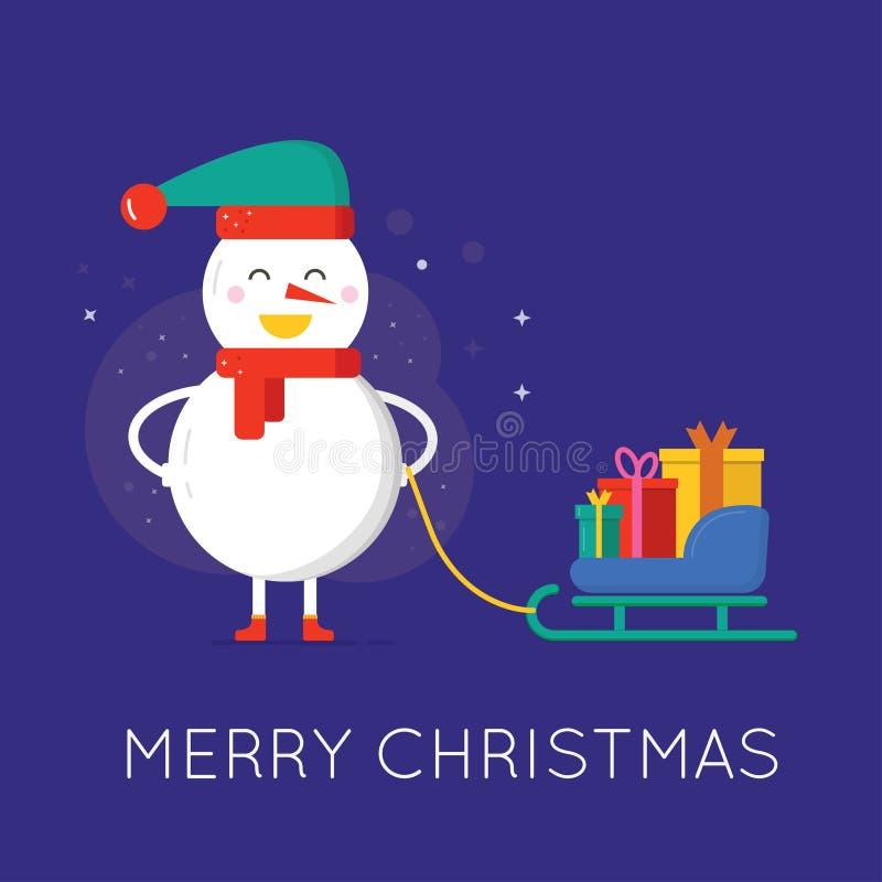 Carte de voeux de Joyeux Noël, bonhomme de neige mignon avec le chapeau, écharpe et illustration libre de droits