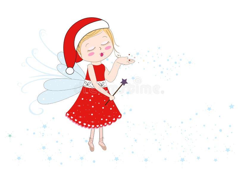 Carte de voeux de Joyeux Noël de bonne année Conte de fées du père noël envoyant la poussière féerique illustration libre de droits