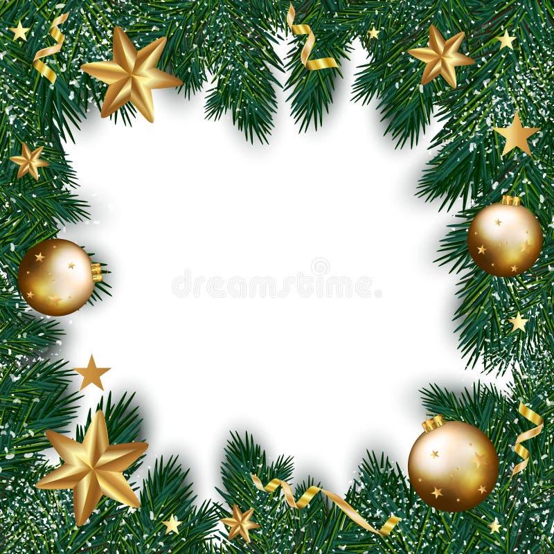Carte de voeux de Joyeux Noël des décorations d'or sur Noël illustration libre de droits