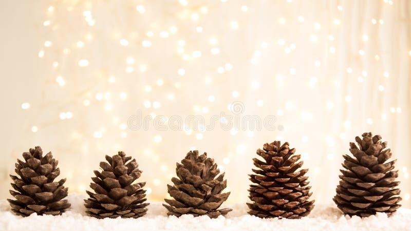 Carte de voeux de Joyeux Noël et de bonne année avec le copie-espace cônes de sapin sur la neige blanche Fond de l'hiver Panorama photographie stock