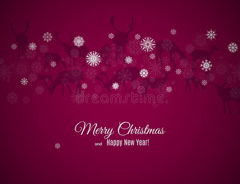 Carte de voeux de Joyeux Noël et de bonne année avec le modèle de cerfs communs et de flocons de neige sur le fond foncé de vin illustration de vecteur