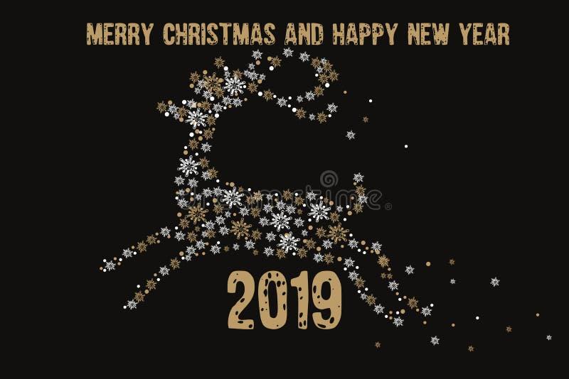 Carte de voeux 2019 de Joyeux Noël et de bonne année De d'or illustration de vecteur