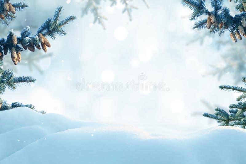 Carte de voeux de Joyeux Noël et d'an neuf heureux Landsca d'hiver photo libre de droits