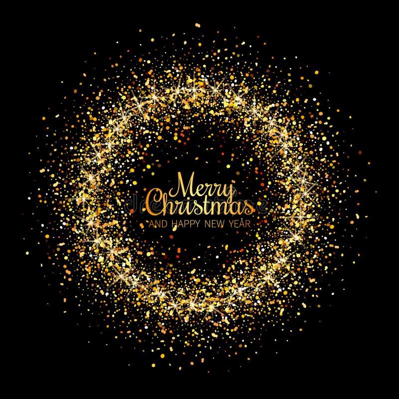Carte de voeux de Joyeux Noël et d'an neuf heureux Letterin brillant illustration de vecteur