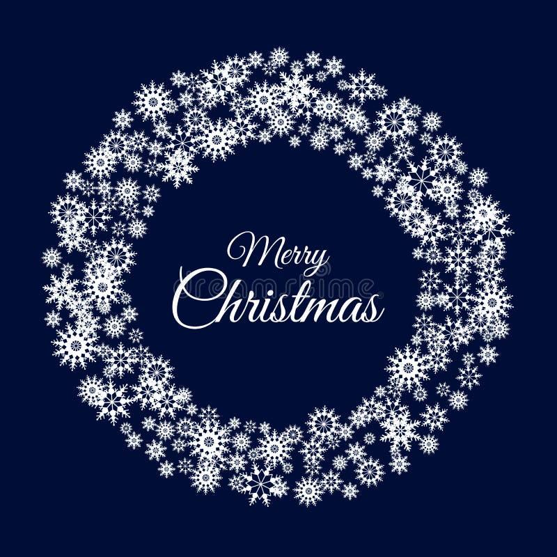 Carte de voeux de Joyeux Noël Expression et snowfl de Joyeux Noël illustration de vecteur