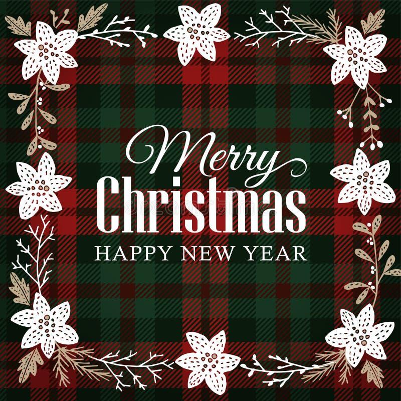 Carte de voeux de Joyeux Noël, invitation Cadre floral fait de fleur tirée par la main de poinsettia, branches d'arbre de sapin illustration libre de droits