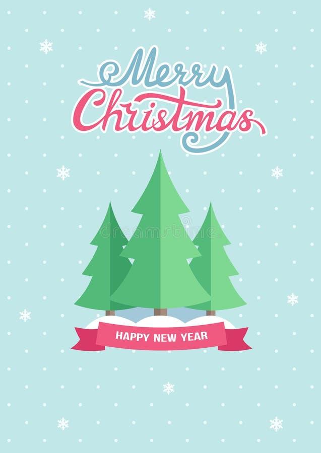Carte de voeux Joyeux plat de Noël et de bonne année de cru avec des sapins et des collines de neige sur le fond cyan pointillé illustration libre de droits