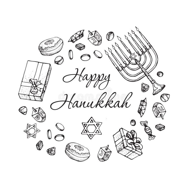 Carte de voeux juive de Hanoucca de vacances Ensemble de griffonnage de symboles traditionnels de Hanoukka d'isolement sur le bla illustration stock