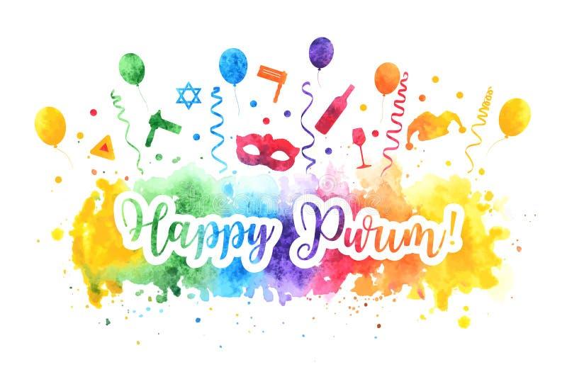 Carte de voeux juive de vacances de purim heureux Ensemble de carnaval de Purim d'éléments de conception d'aquarelle, icônes d'is illustration libre de droits