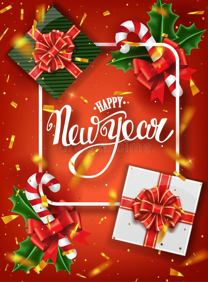 Carte de voeux de lettrage de bonne année pour des vacances Chutes d'or de confettis Calligraphie marquant avec des lettres la no image stock