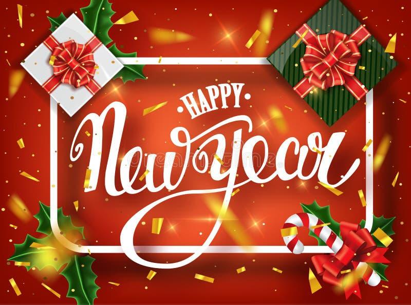 Carte de voeux de lettrage de bonne année pour des vacances Chutes d'or de confettis Calligraphie marquant avec des lettres la no photos libres de droits