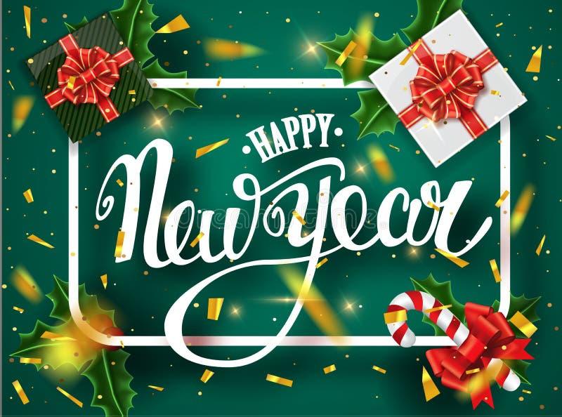 Carte de voeux de lettrage de bonne année pour des vacances Chutes d'or de confettis Calligraphie marquant avec des lettres la no images libres de droits