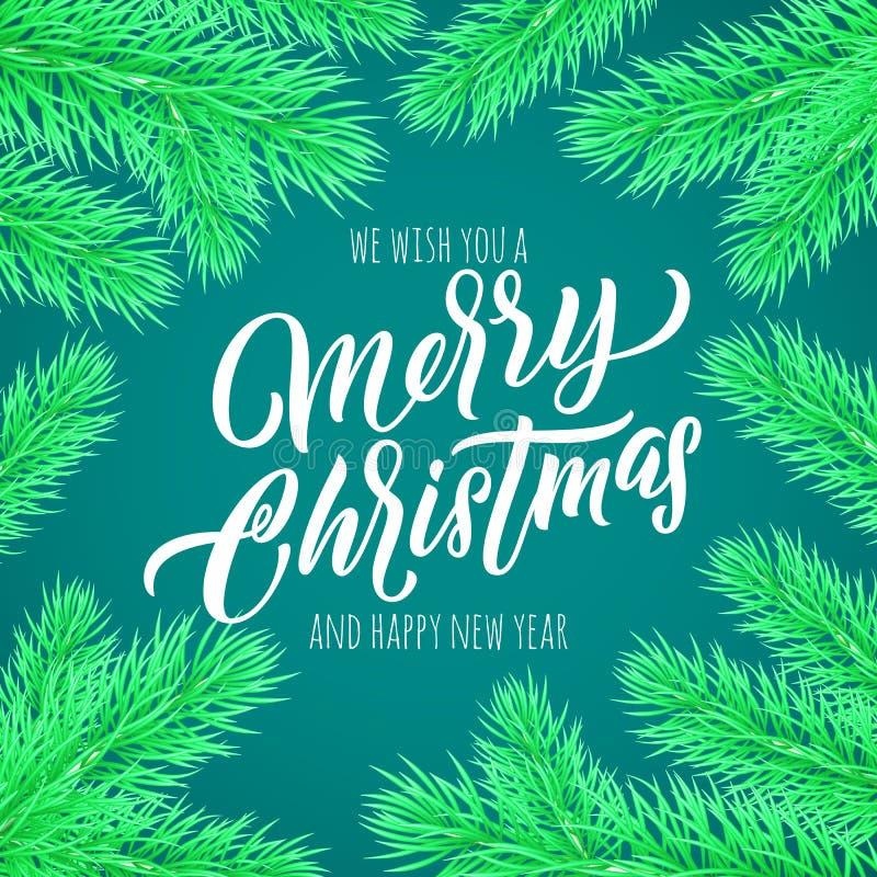 Carte de voeux de lettrage de calligraphie de Joyeux Noël Citation de souhait de nouvelle année de vecteur de cadre d'arbre de No illustration stock