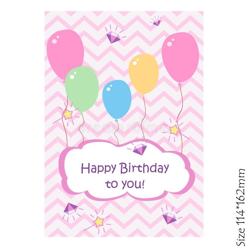 Carte de voeux de lettrage de joyeux anniversaire avec des ballons sur un fond rose illustration stock