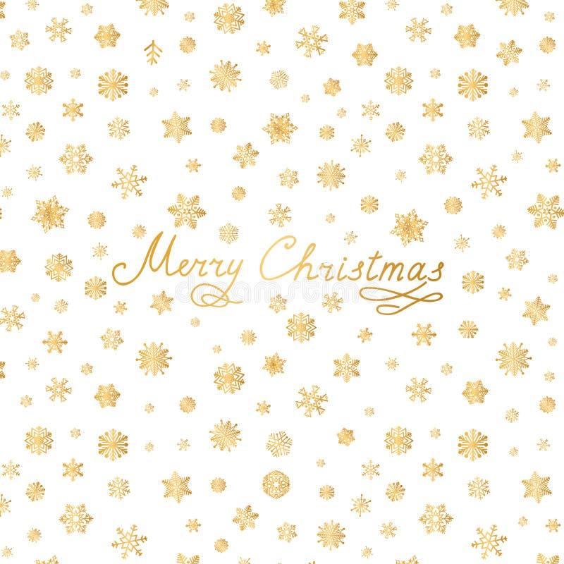 Carte de voeux de lettrage de Joyeux Noël Modèle de neige avec les flocons de neige d'or illustration libre de droits