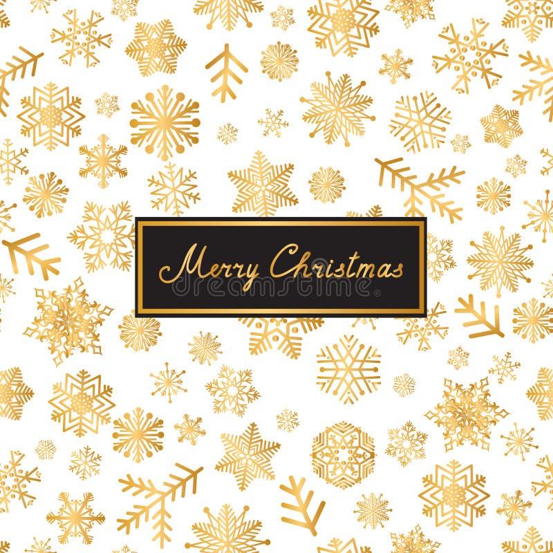 Carte de voeux de lettrage de Joyeux Noël Modèle de neige avec les flocons de neige d'or illustration stock