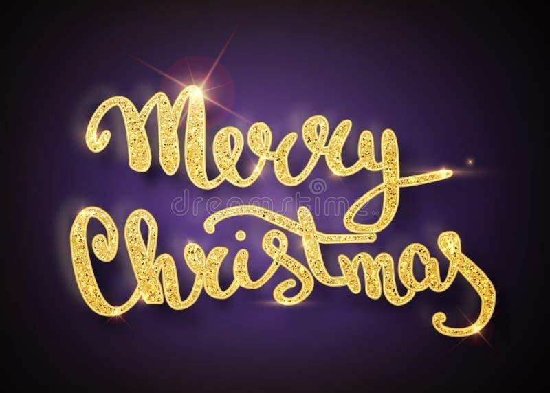 Carte de voeux de lettrage de Joyeux Noël pour des vacances Briller d'or Chutes d'or de confettis Conception ultra-violette de ca illustration stock