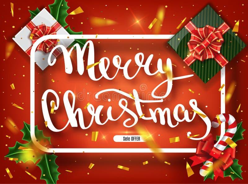 Carte de voeux de lettrage de Joyeux Noël pour des vacances Briller d'or Ornement de décoration avec avec le modèle de flocon de  photo stock