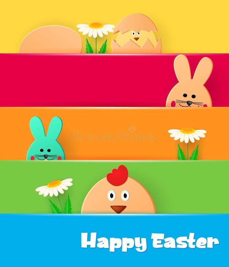 Carte de voeux lumineuse avec Joyeuses Pâques Lapin et poulet de Pâques regardant sur un fond clair illustration stock