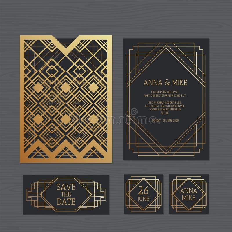 Carte de voeux de luxe d'invitation ou de mariage avec géométrique illustration stock