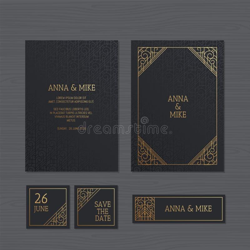 Carte de voeux de luxe d'invitation ou de mariage avec géométrique illustration libre de droits