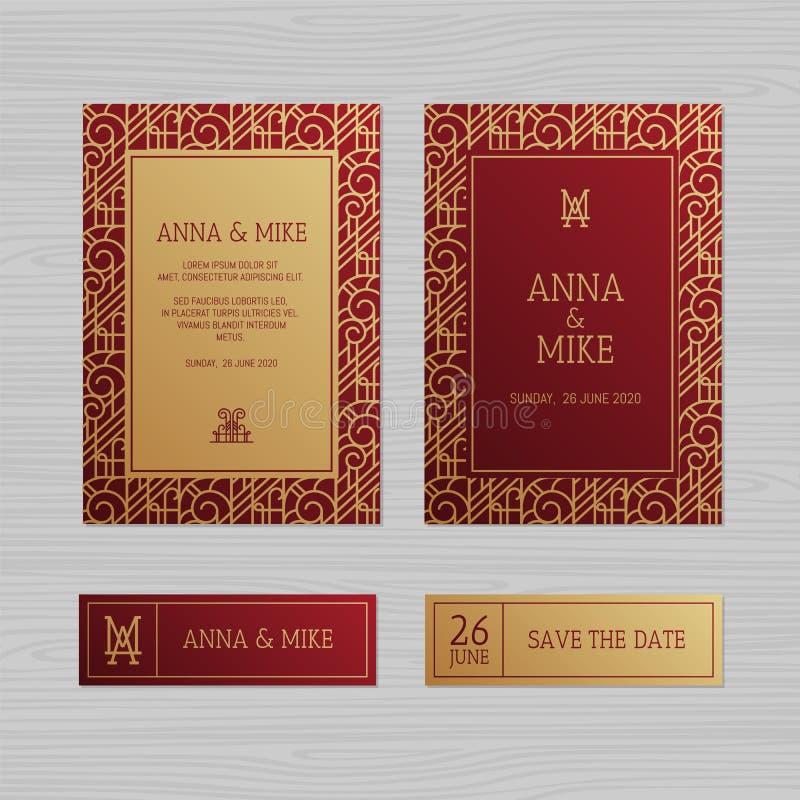Carte de voeux de luxe d'invitation ou de mariage avec l'orname géométrique illustration libre de droits