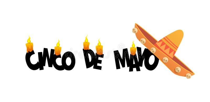 Carte de voeux mexicaine de bannière d'affiche de vacances de Cinco de Mayo de fiesta illustration stock