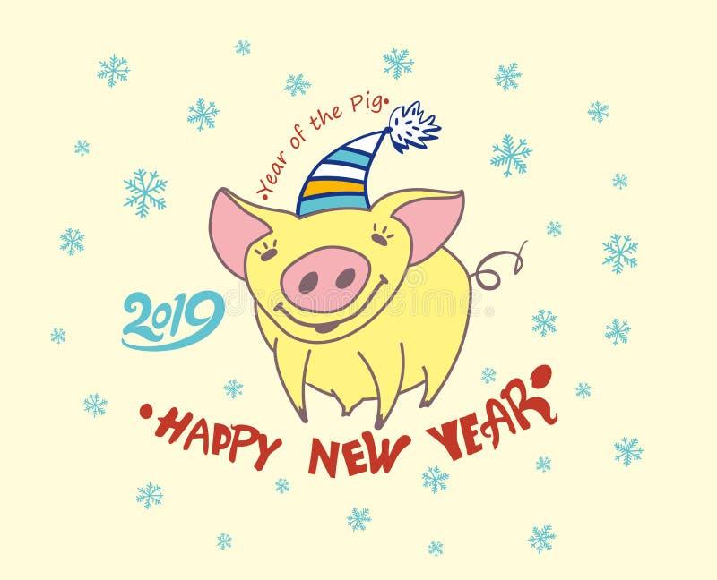 Carte de voeux mignonne avec un porc assez jaune 2019 Flocons de neige de décor de Noël illustration stock