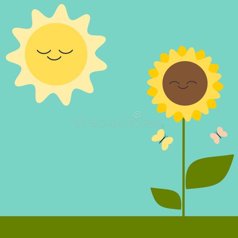 Carte de voeux mignonne de bande dessinée avec l'illustration de tournesol et de soleil illustration stock