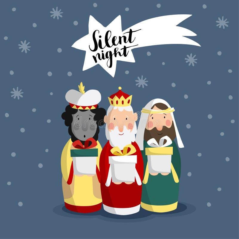 Carte de voeux mignonne de Noël, invitation avec trois mages amenant les cadeaux et l'étoile filante illustration stock