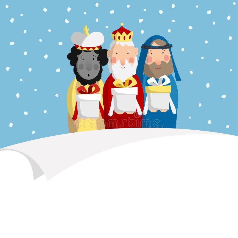 Carte de voeux mignonne de Noël, invitation avec trois mages apportant les cadeaux et le papier blanc Les Rois bibliques Caspar,  illustration libre de droits