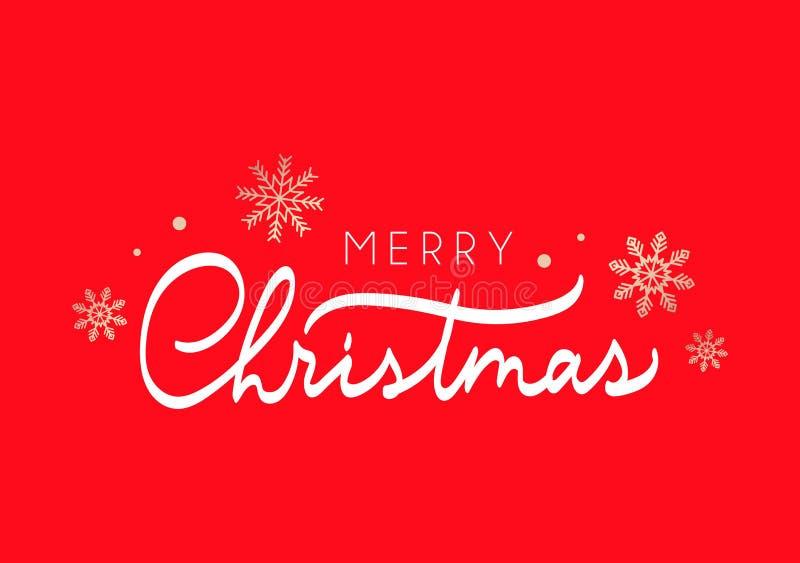 Carte de voeux mignonne de Joyeux Noël avec l'inscription et les flocons de neige d'or illustration de vecteur