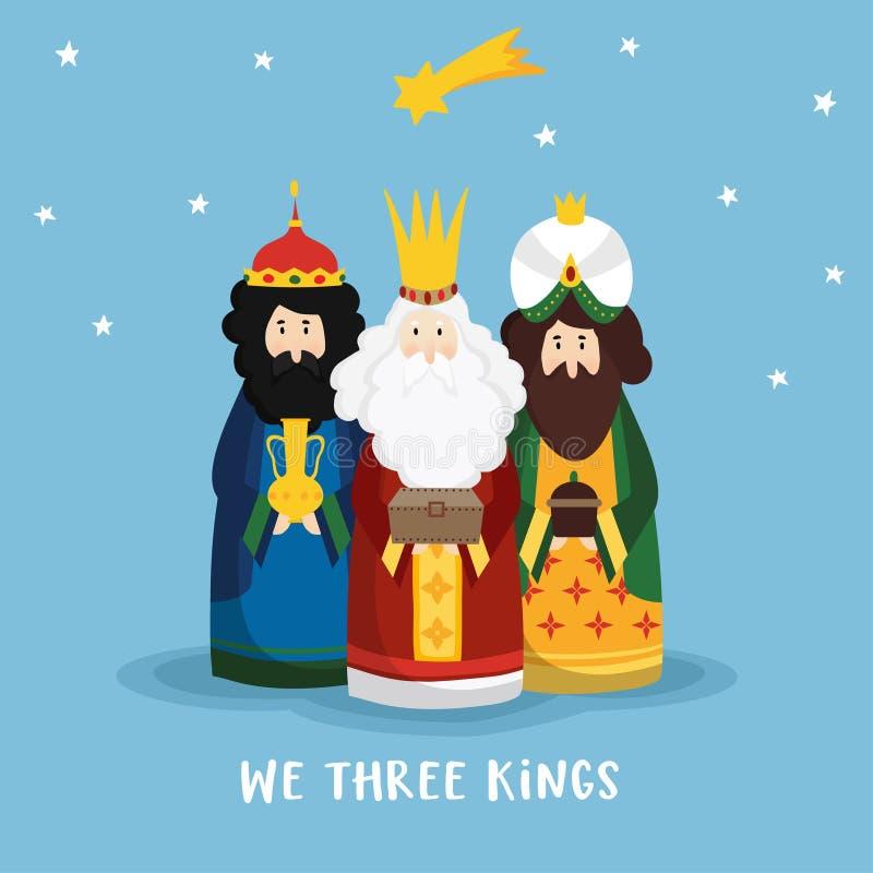 Carte de voeux mignonne de Noël, invitation avec trois mages amenant les cadeaux et l'étoile filante Les Rois bibliques Caspar illustration stock