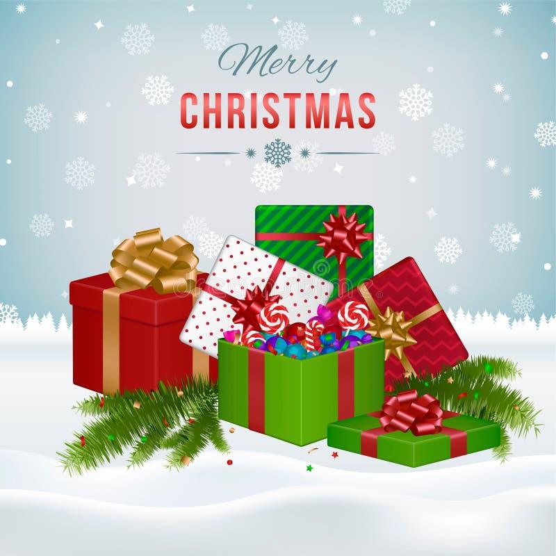 Carte de voeux de Noël avec des cadres de cadeau illustration libre de droits