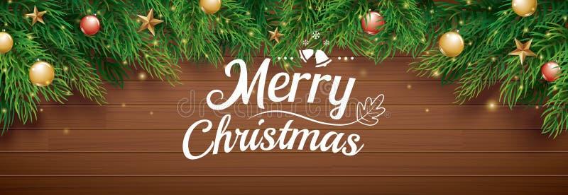 Carte de voeux de Noël avec l'arbre de sapin sur le fond en bois  illustration libre de droits