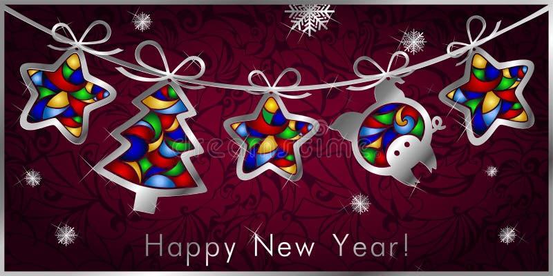 Carte de voeux de Noël avec la guirlande, figures argentées des arbres de Noël, étoiles et porc illustration libre de droits