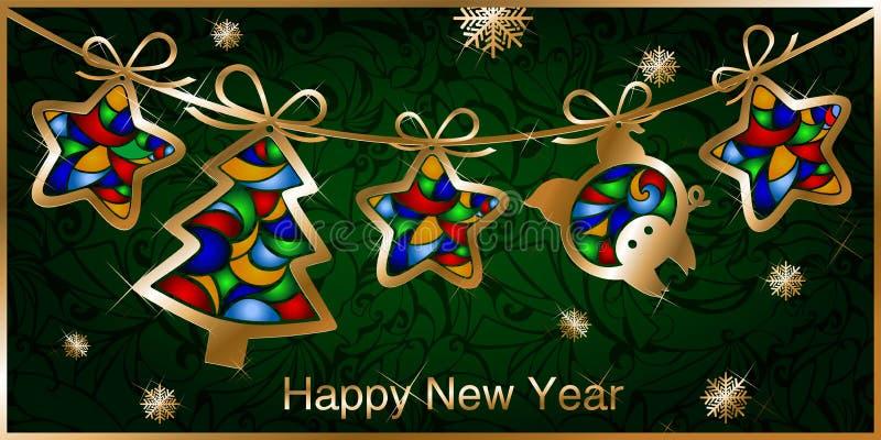 Carte de voeux de Noël avec la guirlande, figures d'or des arbres de Noël, étoiles et porcs illustration stock
