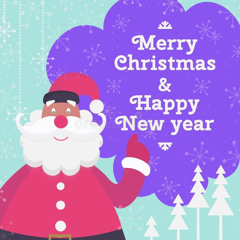Carte de voeux de Noël avec le père noël mignon, l'arbre de Noël et la bulle illustration stock