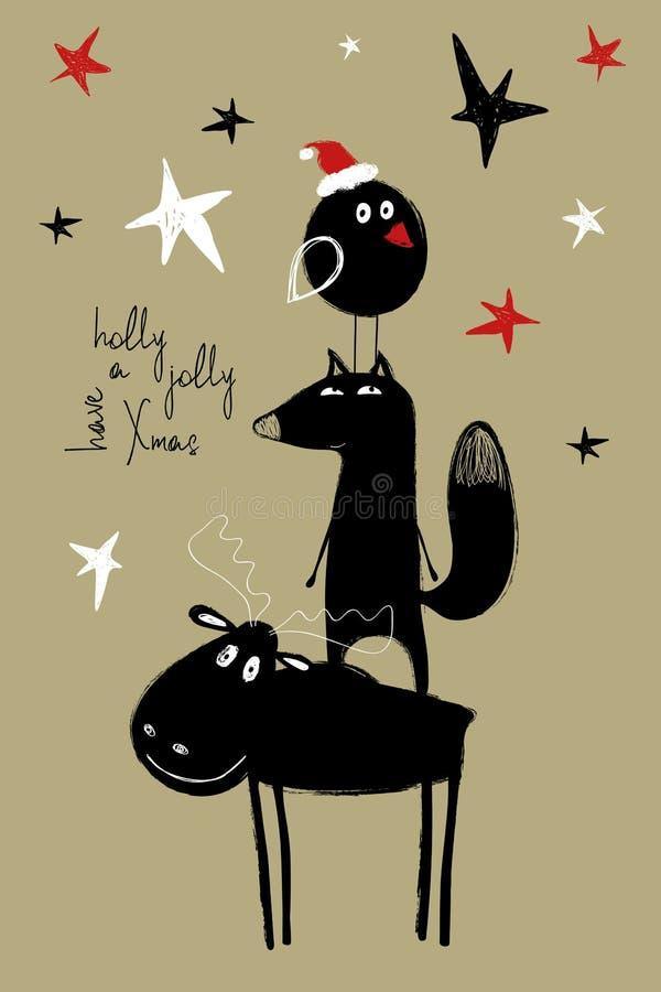 Carte de voeux de Noël avec les orignaux drôles, Fox et oiseau illustration stock