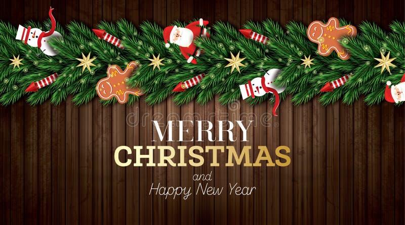 Carte de voeux de Noël avec Santa Claus, des branches d'arbre de Noël, des étoiles d'or, des Rocket rouges, le bonhomme de neige  illustration de vecteur