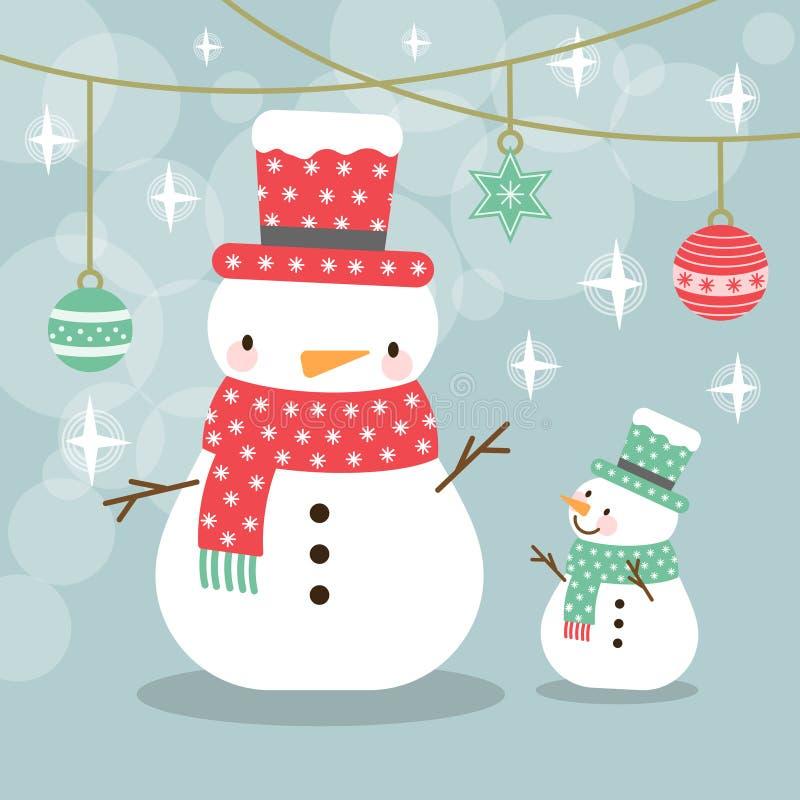Carte de voeux, carte de Noël avec un bonhomme de neige illustration de vecteur