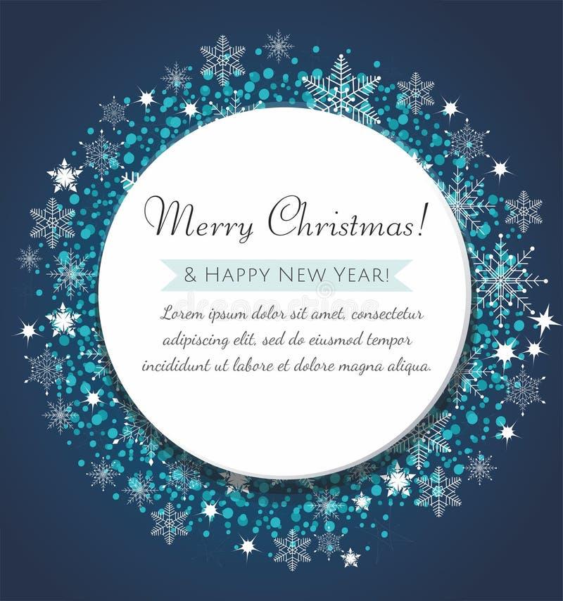 Carte de voeux de Noël Boule bleue décorative avec flocons de neige et confettis illustration stock