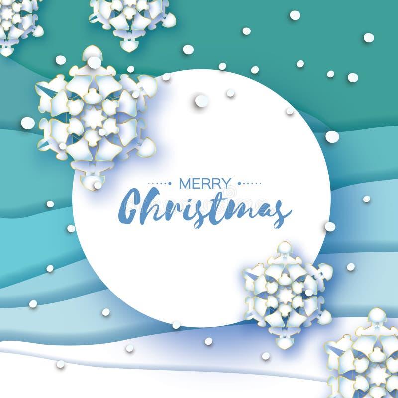 Carte de voeux de Noël d'origami Flocon de neige de coupe de papier An neuf heureux Fond de flocons de neige de l'hiver Cadre de  illustration de vecteur