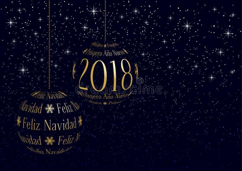 Carte de voeux 2018 de no l espagnol et de nouvelle ann e illustration de vecteur illustration - Carte de voeux en anglais ...