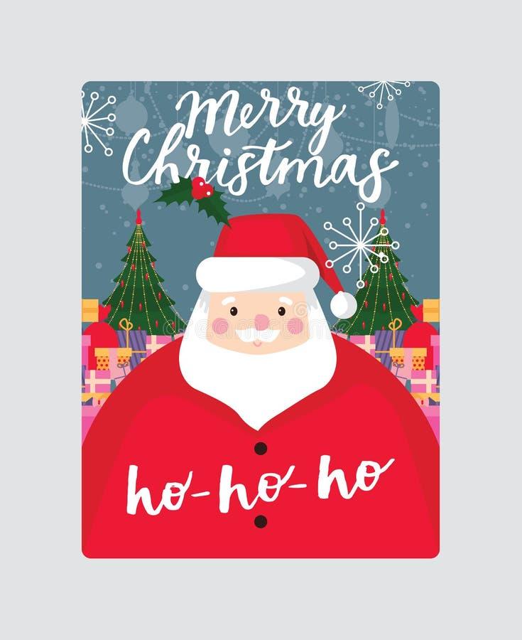 Carte de voeux de Noël de vecteur de Noël joyeuse avec l'arbre de nouvelle année du père noël et l'illustration de fond de cadeau illustration de vecteur