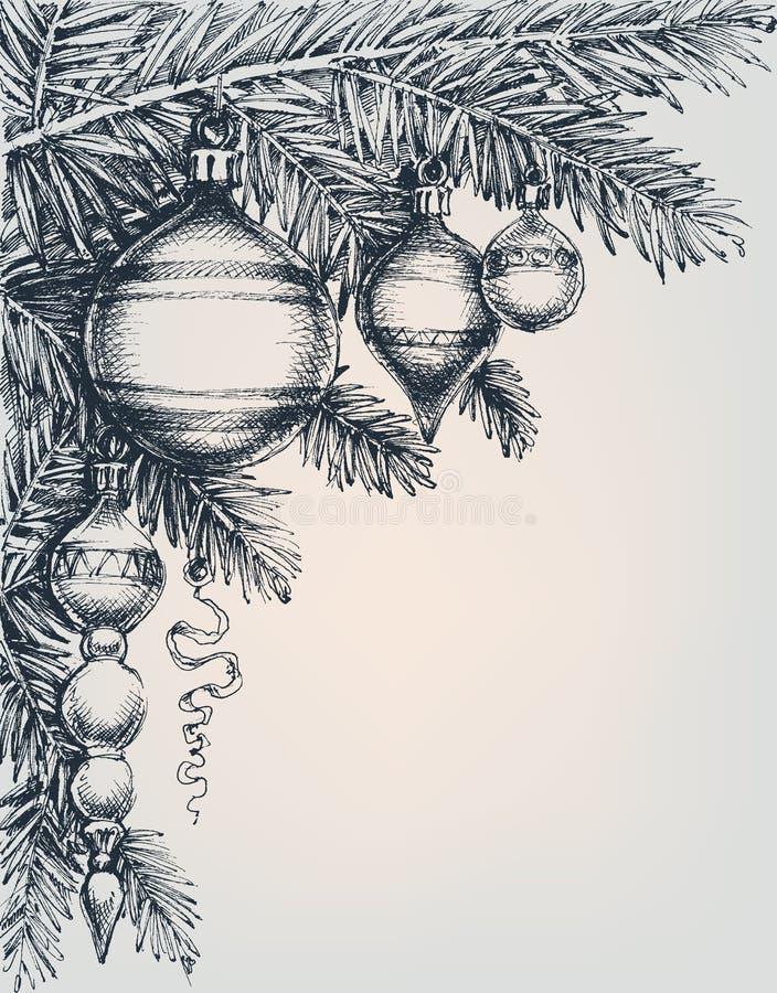 Carte de voeux de Noël de vintage et de nouvelle année illustration libre de droits