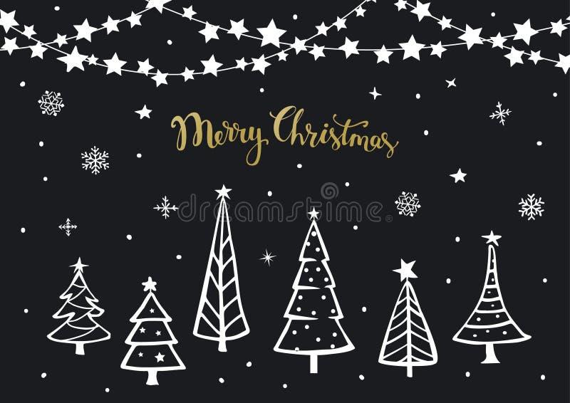 Carte de voeux noire de fond de bonne année de Joyeux Noël d'or blanc avec des pins de bande dessinée de Noël et accrocher sur de illustration stock